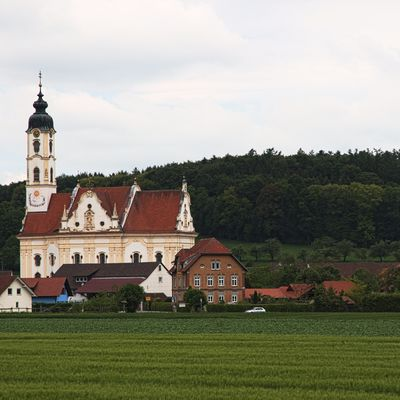 An imposing baroque church in a small village.